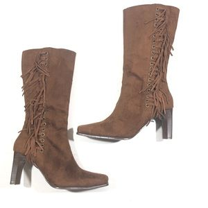 Chestnut Brown Fringe Faux Suede Boots